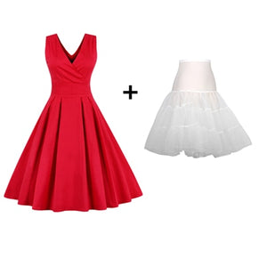 Kenancy Women Sleeveless Vintage Summer Dress 50s 60s Swing Retro Swing Plus Size M~4XL Cotton Party bowknots Feminino Vestidos-geekbuyig