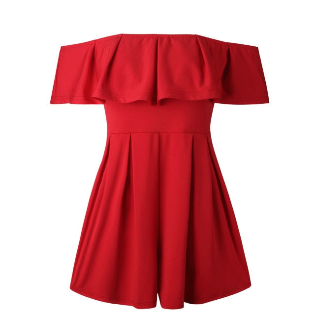 Lossky Bodysuit Summer Women Hot 2018 Sexy Slash-Neck Wrapped Chest Strapless Backless Ruffle Women Mini Jumpsuit Summer Red-geekbuyig