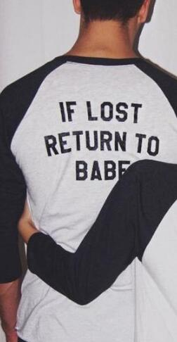 OMSJ New Women Men 2018 Long Sleeve Top If Lost Return To Babe/ I Am Babe Couple Clothes T Shirt Casual Lover Camisetas Feminina-geekbuyig