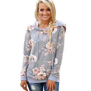 Floral Print Hoodie Women Jumper 2018 Autumn Winter Hooded Sweatshirt Fashion Long Sleeve Pullover Tracksuits Sudaderas Mujer-geekbuyig