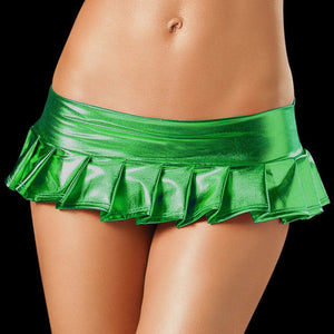 Women Hot Sexy Latex Skirts Suit Pole Dance Clubwear Patent Leather Micro Mini Skirts Set Nightclub-geekbuyig
