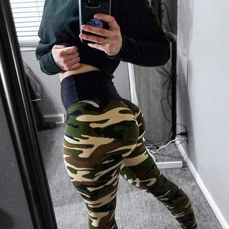 2018 New Camo Printing Leggings Put Hip Fold Elastic High Waist Legging Breathable Slim Pants-geekbuyig