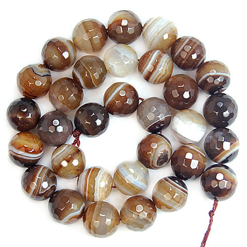 "wholesale Faceted Coffee Striated Agates Onyx Round Beads For Jewelry Making 15"" Pick Size 4,6,8,10,12mm Making Bracelet -F00045-geekbuyig"