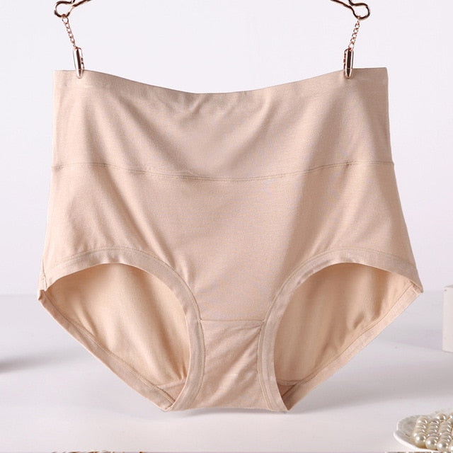 QA194 Plus size 6xl 7xl women panties bamboo fiber underwear high waist body shaping briefs female panties-geekbuyig