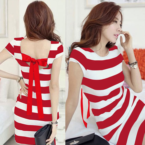 Plus Size Women K-pop Dress Korean Cut Out Tie Bow Backless Short Sleeve Striped Summer Dress Mini Bandage Sexy Casual Dress-geekbuyig