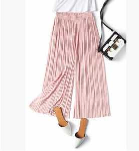 2018 spring and summer women brief solid color pleated chiffon ankle length trousers loose wide leg pants female 165-geekbuyig