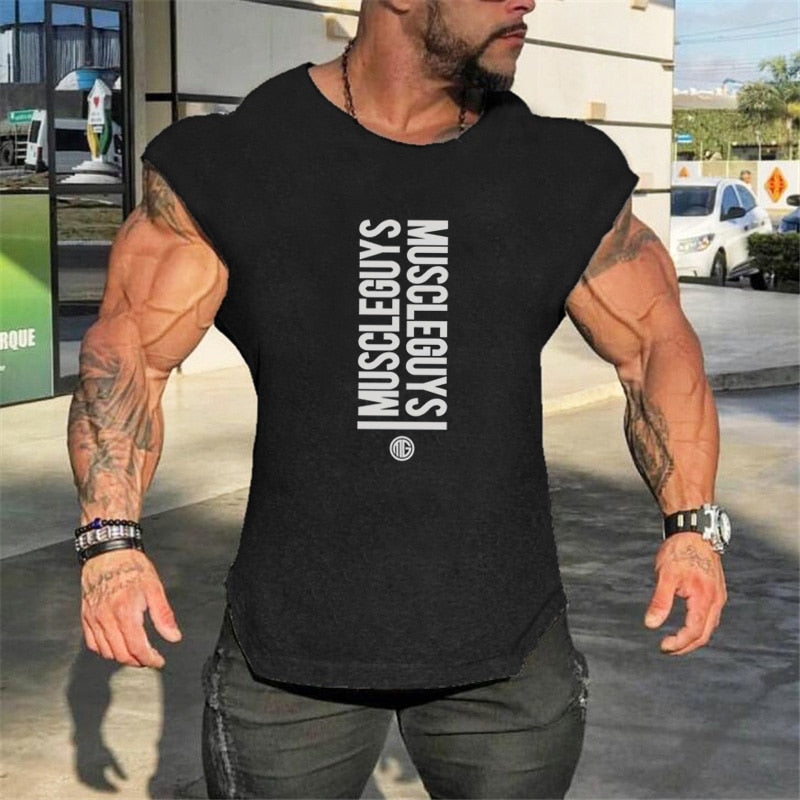 Muscleguys Brand Bodybuilding Sleeveless shirt Gyms Clothing Canotte tank top men fitness singlets workout tanktop-geekbuyig