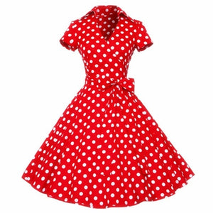 Kenancy Plus Size 4XL Women Retro Dress 50s 60s Vintage Rockabilly Swing feminino vestidos V neck short sleeves Dot print Dress-geekbuyig