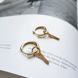 925 sterling silver gold key earrings simple fashion wild design gold key round stud earrings silver for women key jewlery gift-geekbuyig