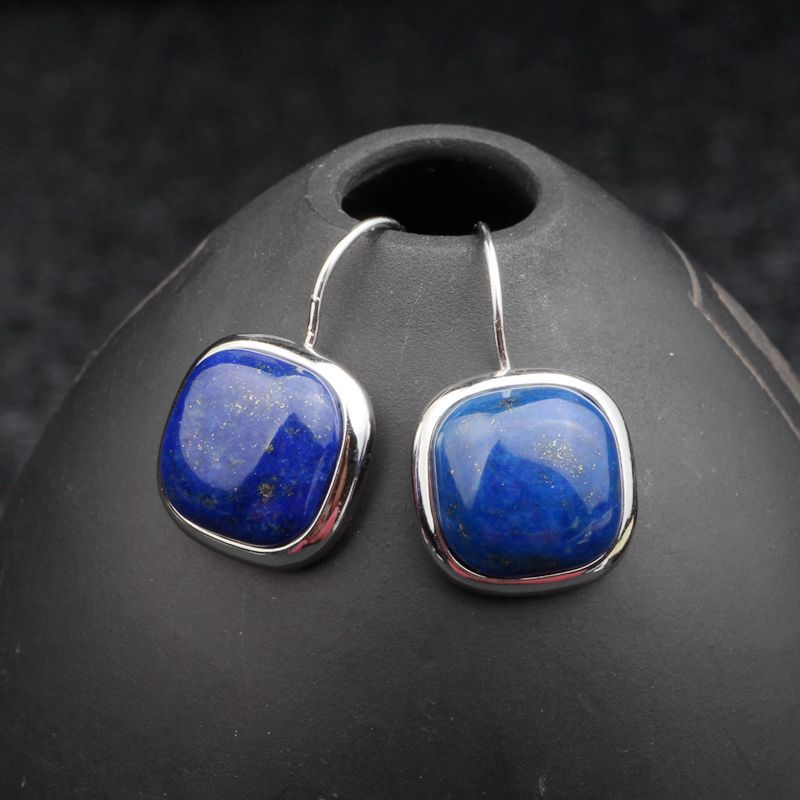 MetJakt Natural Square Afghan Lapis Drop Earrings Solid 925 Sterling Silver Earring for Women's Party Vintage Elegant Jewelry-geekbuyig