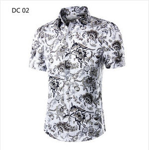 2018 Fashion Mens Short Sleeve Hawaiian Shirt Summer Casual Floral Shirts For Men Asian Size M-4XL 10 Color-geekbuyig
