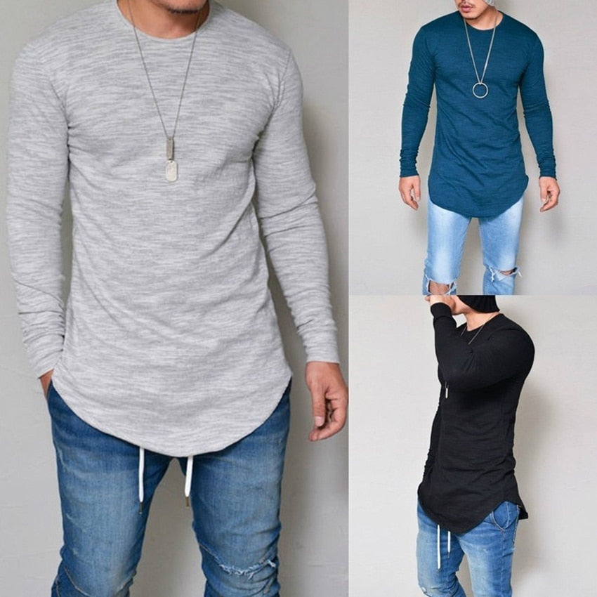 Plus Size S-4XL 5XL Men Fashion Casual Slim Elastic Soft Solid Long Sleeve Men T Shirts Male Fit Tops Tee Longline t-shirt-geekbuyig