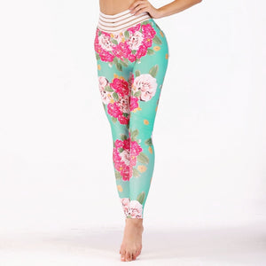 Women Push Up Fitness Legging Fashion Elastic Spandex High Waist Workout Legging Pants Female Floral Printed Leggings Plus Siz-geekbuyig