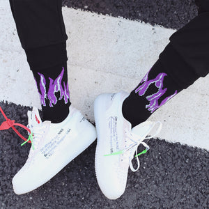 NEW Original Design Harajuku Style Purple&Yellow Unisex Flame Socks Street Shot Hip Hop Punk Men Skateboard Cotton Socks-geekbuyig