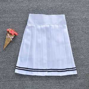New Women Pleated Skirt with Shorts Schoolgirl Uniform Mini Skirt Solid Color High Waist Skirt with shorts Elastic Band-geekbuyig