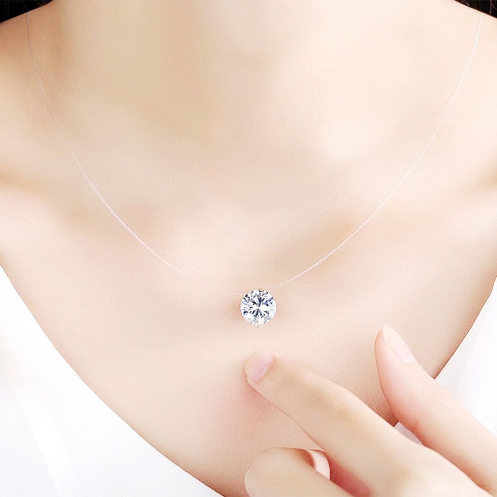 Fashion Zircon Pendant Necklace Invisible Fishing Line Necklace for Women Jewelry Decoration-geekbuyig