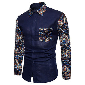 Laamei Brand-Clothing 2018 Autumn Fashion Shirts Male Cotton Slim Fit Turn-Down Dress Shirt Men Long Sleeve Patchwork Shirts 5XL-geekbuyig