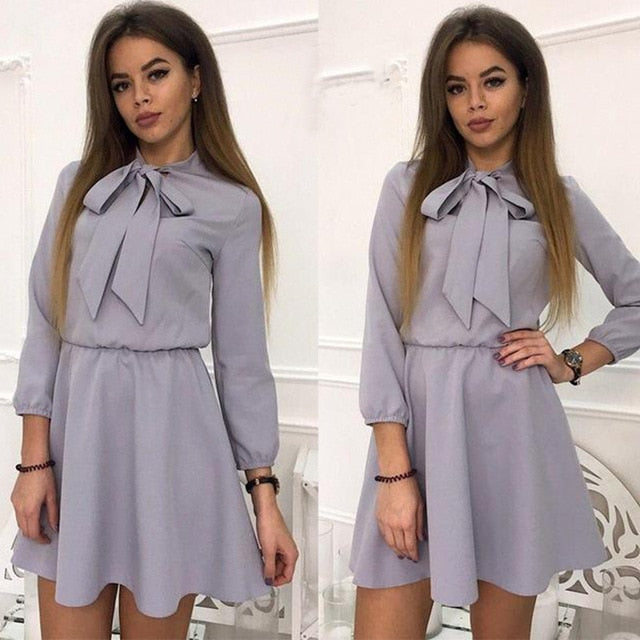 Women Casual Bow Solid Empire Mini Dress Long Sleeve A line Stand Collar Dress 2018 Autumn Fashion Chic Women Party Dress-geekbuyig