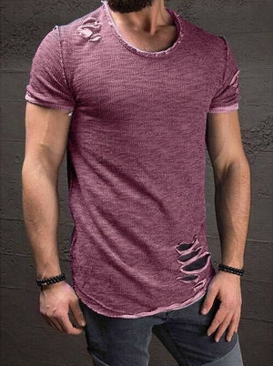 2018 Fashion Summer Ripped Clothes Men Tee Hole Solid T-Shirt Slim Fit O Neck Short Sleeve Muscle Casual Jersey Tops T Shirts-geekbuyig