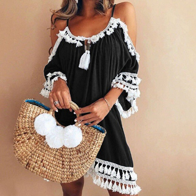 Female Spaghetti Strap Boho Dress Plus Size 5XL Summer Loose Beach Sundress Backless Short Sleeve Tassel Women Dresses GV130-geekbuyig