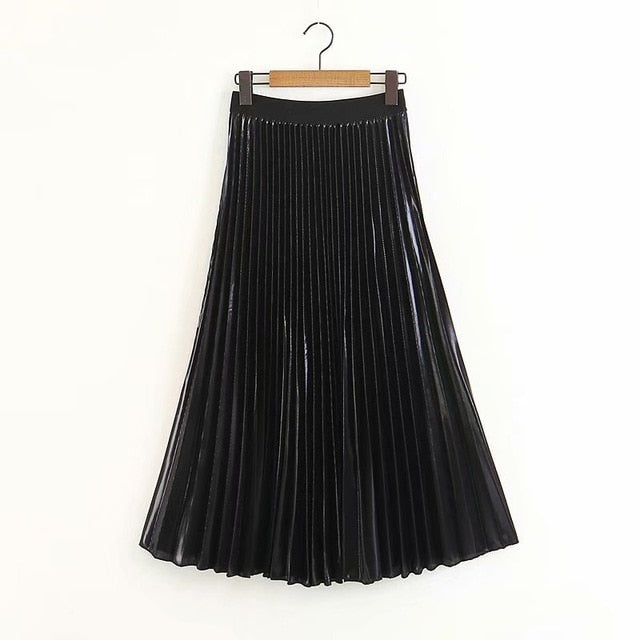 2018 New Arrival Women Fashion Ankle-length Long Pleated Skirts Lady Spring Summer Autumn Vintage Hight Waist Silver Black Skirt-geekbuyig