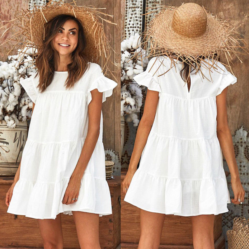 Fashion Casual Womens Ladies Dresses Summer Short Sleeve Mini Tank Dress Sweet Loose Beach Sundress Red White Yellow-geekbuyig