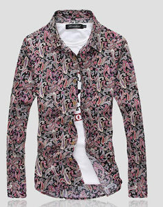 2018 Men's Shirts Retro Floral Printed Man Casual Slim Shirt Fashion Classic Men Dress Shirt Men's Long Sleeve Brand Clothing-geekbuyig