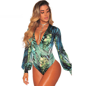 HAMBELELA Body Mujer Women Bodysuit 2018 High Street Fashion Palm Print Bodysuit Women Deep V-Neck Long Sleeve Ladies Bodysuits-geekbuyig