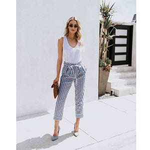 In stock a seri pants striped women ankle length pants OL female bow tie suede bottoms mid waist harem pants-geekbuyig