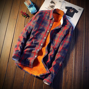 Shirt Men Winter Clothes New Casual Thick Warm Shirt Mens Cashmere Long-sleeved Shirts Simple Streetwear Plus Size 5xl Shipping-geekbuyig