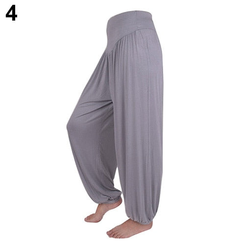 Women Comfy Harem Loose Long Pants Belly Dance Boho Wide Leg Trousers High Waist Stretch Harem Flare Pants Bloomers Pants-geekbuyig
