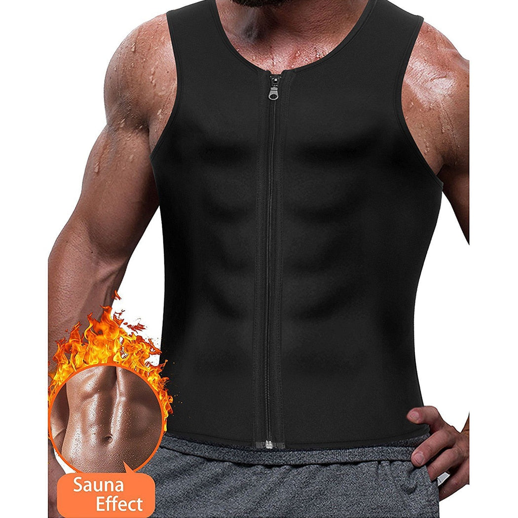 Mens Zipper Neoprene Shaper Slimming Vest Tank Tops Shapewear Tummy Control Body Shapers Trainer Girdle Belt Trimmer Compression-geekbuyig
