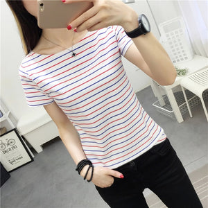 MRMT Stripes Womens T-Shirt V Collar T Shirts Skinny Half Sleeve Clothes Women Slim Under Wear Tshirt Casual Top Tees For Female-geekbuyig