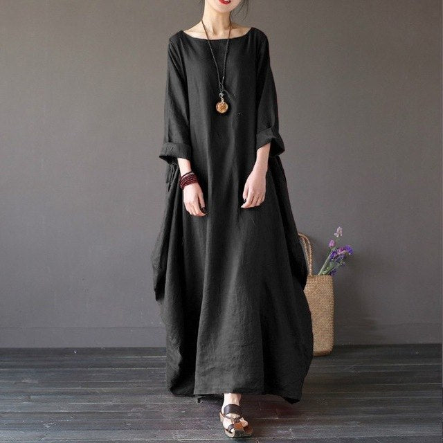 Johnature 2018 New Casual Dress Plus Size Women Clothes O-Neck Summer 5 Color Vintage Three Quarter Sleeve Robe Maxi Dresses 5XL-geekbuyig