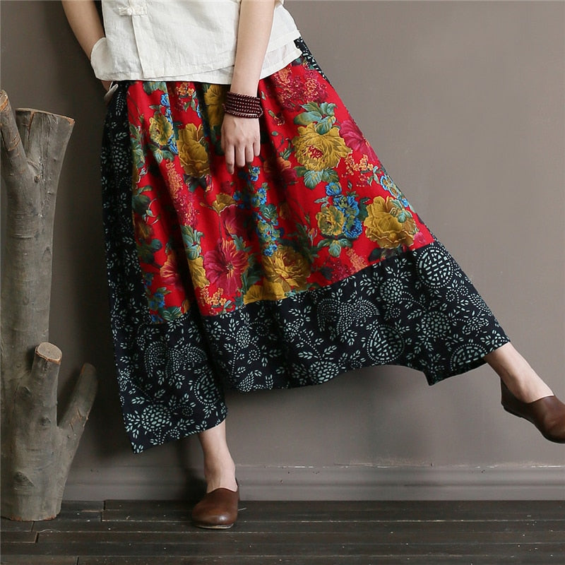 Johnature Women Vintage Cross Pants Floral Elastic Waist Patchwork 2018 Summer New Cotton Linen Casual Trouser Women Pants-geekbuyig
