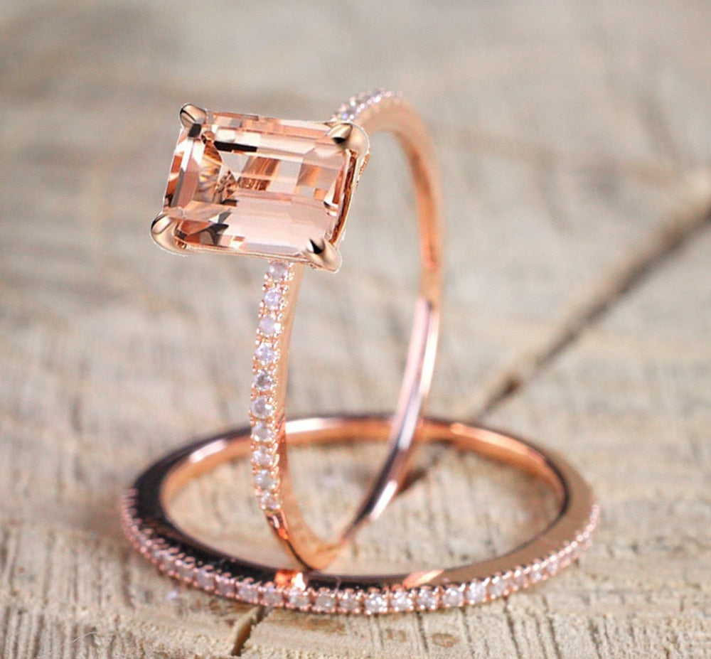 Bamos Female Square Ring Set Luxury 18KT Rose Gold Filled Ring Vintage Wedding Band Promise Engagement Rings For Women-geekbuyig