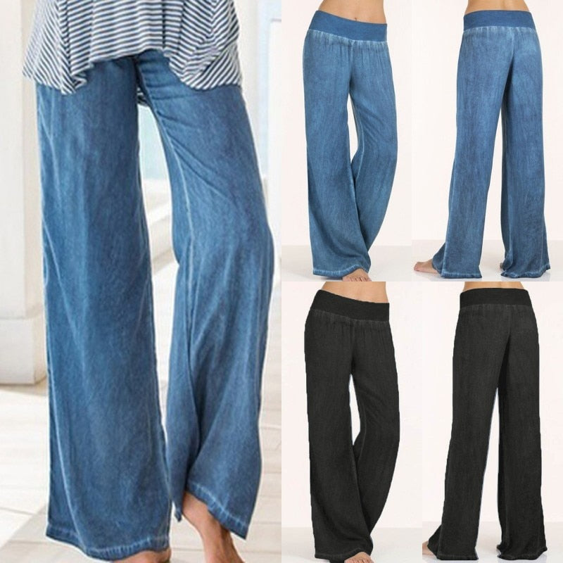 Plus Size Celmia Women Denim Wide Leg Pants Jeans Elastic High Waist Trousers Womens Clothing Casual Bottoms Pantalon Palazzo-geekbuyig