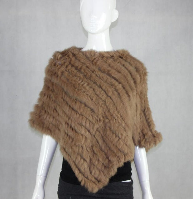 Autumn Hot Sale Knitted Natural Fur Shawl Fashion Knitted rabbit fur shawl poncho stole cape wrap women's garment Pashmina-geekbuyig