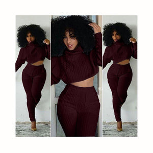 Women Two Pieces Set Knitted Set Casual Tops Pant Suits co-ord set And Comfy Pant Suits 2 pieces sets women Lounge S-XXL-geekbuyig
