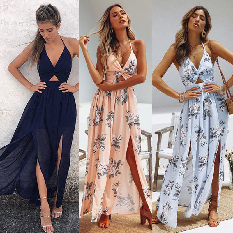 Womens Summer Boho Maxi Long Dress Evening Party Beach Dresses Sundress Floral Halter Dress Summer 2018-geekbuyig