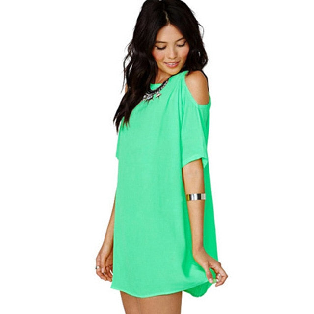 2018 Summer Dress Casual Style Short Sleeve Off shoulder Candy Color Chiffon Dress for Fashion Girls-geekbuyig