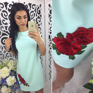 2018 Fashion Rose Appliques Summer Dress Women Simple Style Straight Mini Dresses O-neck Short Sleeve Casual Dress-geekbuyig