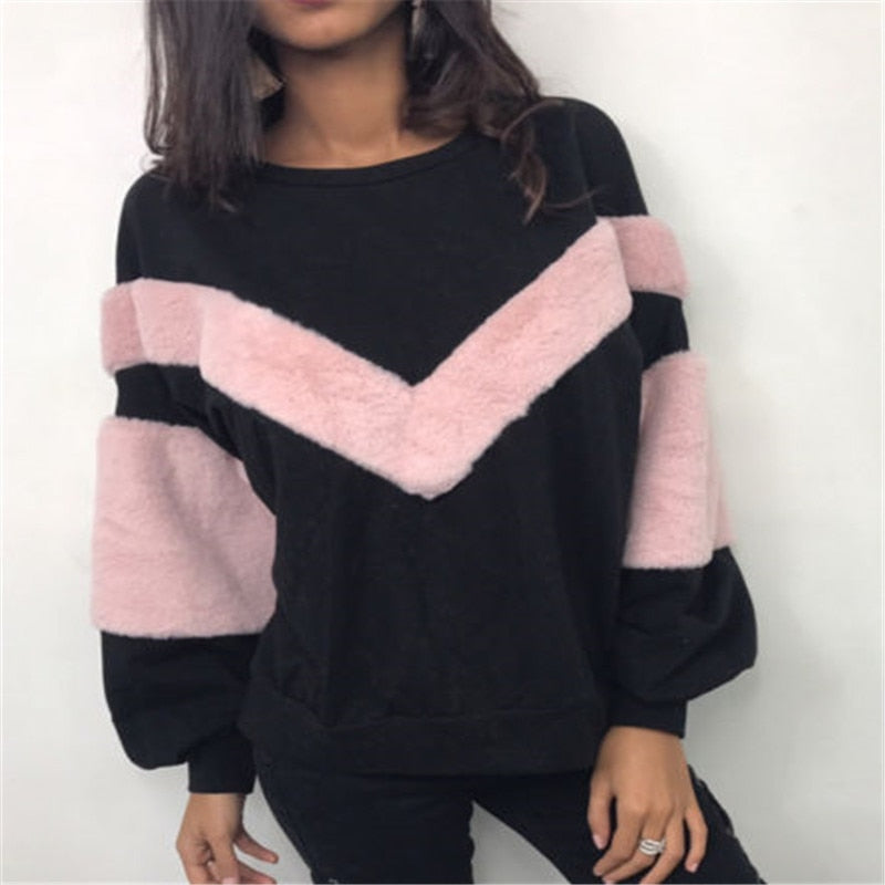 Patchwork Plush Winter Hoodies Women Plush Long Sleeve Sweatshirts Tops Female Hoodies Jumper Cotton Pullovers-geekbuyig