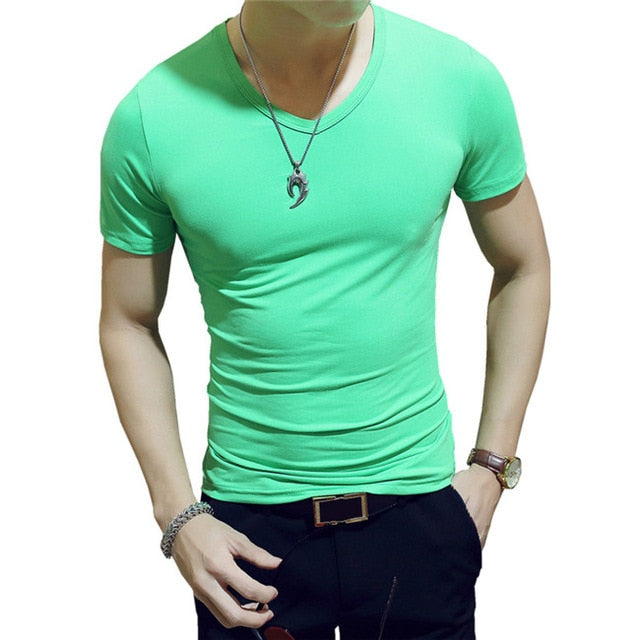 Elastic V Neck Men T Shirt Mens Fashion Short Sleeve Tshirt Fitness Casual Male T-shirt 2018 Brand Clothing Tee Tops 5XL 8J0129-geekbuyig