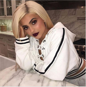 Hoodies Women Lace Up Long Sleeve White Black Hoodie 2018 Summer Sweatshirts Short White Pullover Long Tops Shirt-geekbuyig