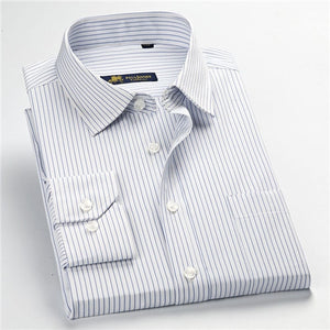Factory Sale high quality 2018 new Autumn plus size long sleeve striped men dress shirts 5xl regular fit non-iron easy care-geekbuyig