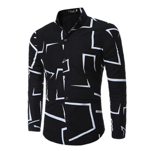 High Quality Men Shirt 2018 Brand Fashion Casual Slim Geometric Print Long Sleeve Shirt Men Business Social White Top Clothes-geekbuyig