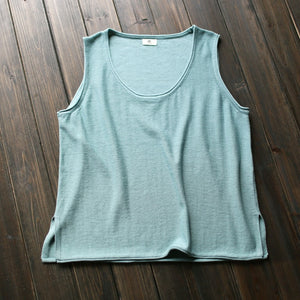 Johnature 12 Colors Tank 2018 New Summer Cotton Women Vest Knitted Solid Color O-neck Washed Female Loose Tops-geekbuyig