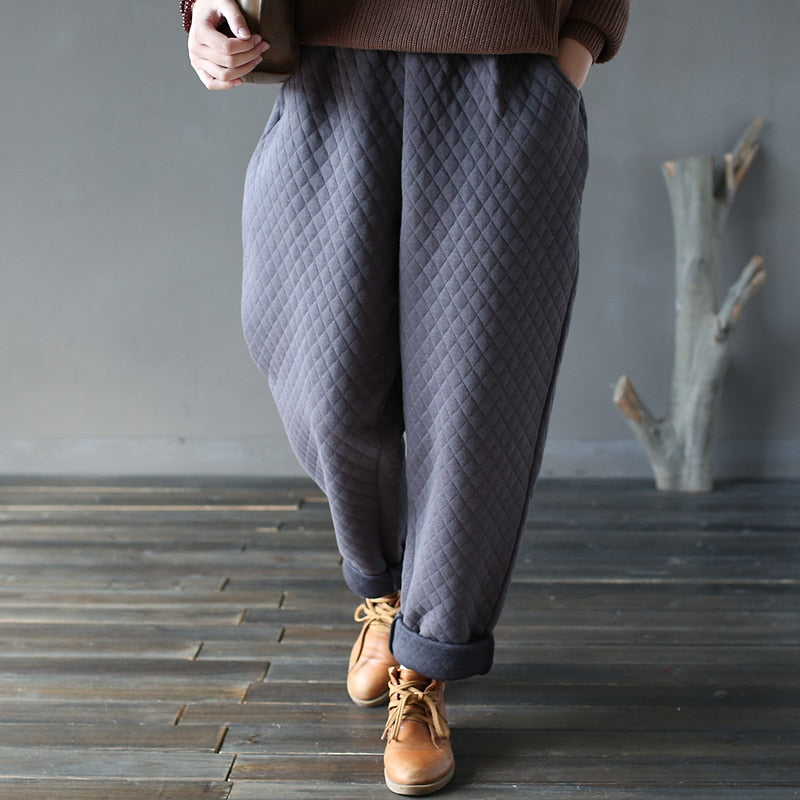 Johnature Vintage Pants 2018 New Women Autumn Winter Cotton Loose Thick Thermal Straight Casual 4 Colour Pants Elastic Waist-geekbuyig