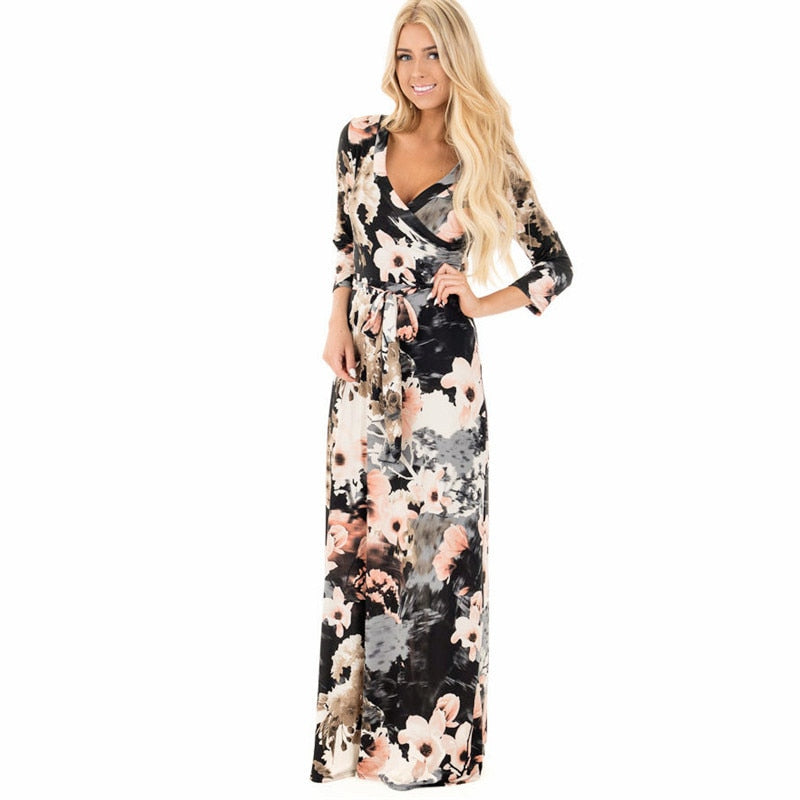 Women Summer Floral Print Maxi Dress Boho Style Long Beach Dress Evening Party Long Bandage Bodycon Dress Plus Size Vestidos-geekbuyig